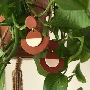 Jewelry - Boho Polymer Clay Statement Earrings Terra Cotta